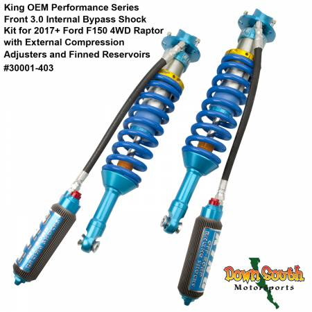 King Shocks 3.0 Front OEM Coil-Over Kit with Compression Adjuster & IBP for Ford F150 Raptor 4WD 30001-403